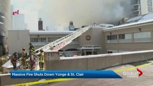 Toronto firefighters battle 6-alarm fire in midtown Toronto