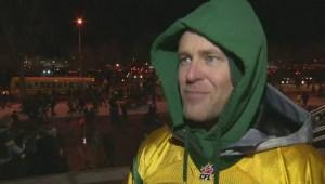 Eskimos fans reactions after their team wins Grey Cup in Winnipeg