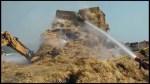 Transport truck hay fire on 401