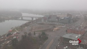 WATCH: Fog lingering in Saskatoon on Sunday dissipates