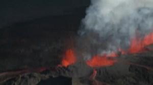 Aerials of volcano erupting in Iceland