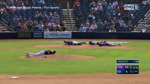 Players hit the deck in bizarre scene after bees swarm MLB spring training game