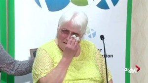 Mary Wernicke of Neville, Sask. with tears of joy after $ 60m Lotto Max win