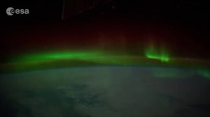 View From ISS flying through an Aurora