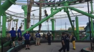 Raw video: Firefighters rescue trapped riders after roller coaster shuts down in Arizona