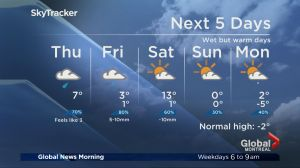 Global News Morning weather forecast: Thursday, February 23