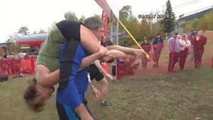 Footage of U.S. Wife Carrying Championship on a 278-yard obstacle course