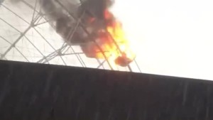 Ferris wheel at Thailand amusement park on fire