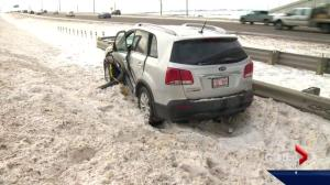 Icy conditions cause problems on Alberta highways