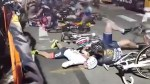 Over 15 cyclists sent flying in massive pile-up during NYC bike race