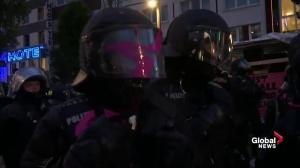 Scuffles break out between G20 protesters, police as night descends