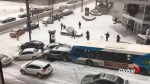Montreal transit buses, cars, trucks slam into each other in winter weather pileup