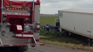 Car versus semi fatal crash