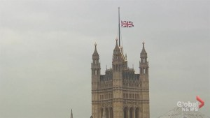 Flags fly at half-staff atop UK parliament, other buildings in London