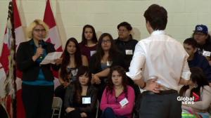 First Nations teen asks Justin Trudeau to answer for centuries of neglect for Canada's indigenous peoples