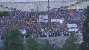 RAW: Thousands of anti-austerity supporters gather outside Greek parliament