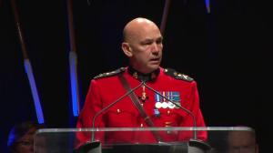 RCMP Inspector Kevin Murray speaks at Const. David Wynn's funeral