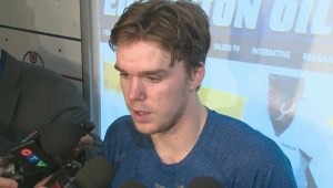 McDavid speaks to reporters after triumphant return