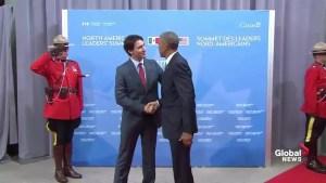 Prime Minister Justin Trudeau greets President Obama in Ottawa