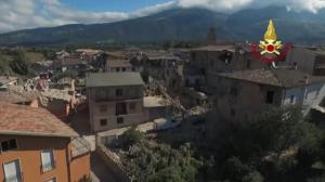 Aerial drone footage captures scope of the devastation following earthquake in Italy