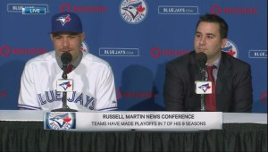 Blue Jays formally introduce Toronto native Russell Martin
