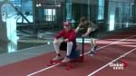 Calgary MLB prospect Mike Soroka gets some training help from Stamps QB Bo Levi Mitchell