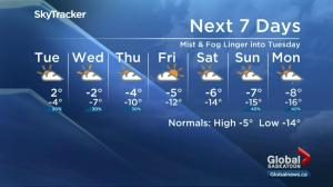 Saskatoon weather outlook – foggy Family Day, cooler days ahead