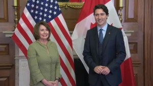 Justin Trudeau welcomed to the U.S. Congress by Nancy Pelosi