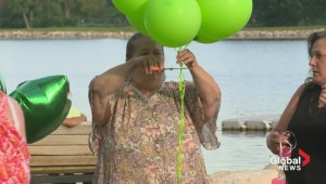 Green balloons released in Lethbridge for Calgary family