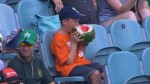 10-year-old becomes online sensation for chowing down on whole watermelon