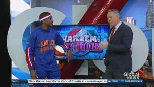 "Harlem Globetrotter Anthony ""Buckets"" Blakes shows off his skills"