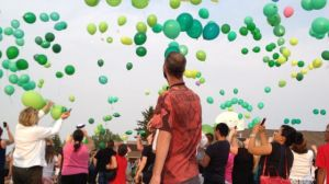 Green balloons released in Calgary
