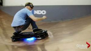 Tony Hawk tries out the Hendo Hoverboard