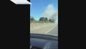 Dramatic Nanaimo roadside fire