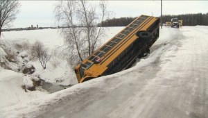 Quebec school bus skids into ditch in icy weather