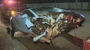Lamborghini seemingly abandoned after car crash on Gardiner