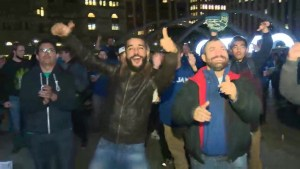 Jays fans celebrate game 3 win at Nathan Phillips Square
