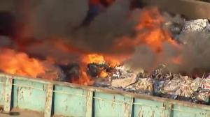 Raw video: Massive fire on trash barge on Hudson River