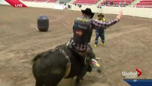 Jordan Witzel tries bull riding