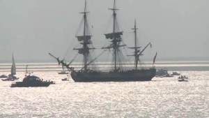 French frigate replica Hermione crew prepare to set sail for Boston
