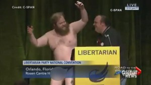 Libertarian Party candidate strips off clothes live on television