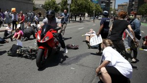 Alarming video shows biker riding motorcycle through lie-in protest