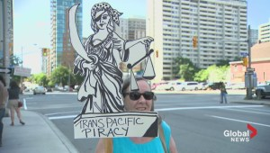 Raw video: TPP protest in Ottawa