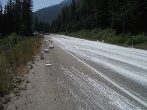 Trans-Canada white with paint after spill