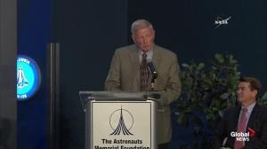 Retired astronaut gets choked up reading names of astronauts who have lost their lives in the space program
