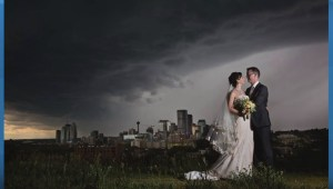 Calgary couple's wedding photo captures moment before massive summer storm