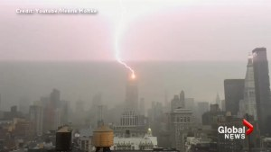 Video shows rare lightning strike of Empire State Building as storms roll across NYC