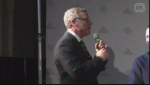 Premier Brad Wall met with boos at CFL Week