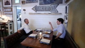 Barack Obama and Justin Trudeau share private dinner in Montreal