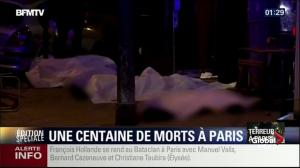 Bodies line sidewalk outside Bataclan concert hall following deadly attack
